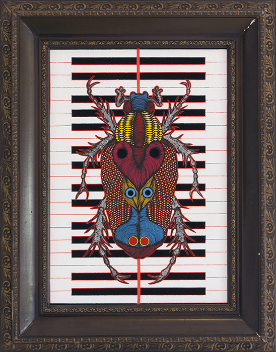 Greek artist, painting, artwork, dimitris ntokos, lives in Athens, scarab, scarabeus, beetle, dimitris dokos, canvas, contemporary art, modern art, art, beetle, optic art, art